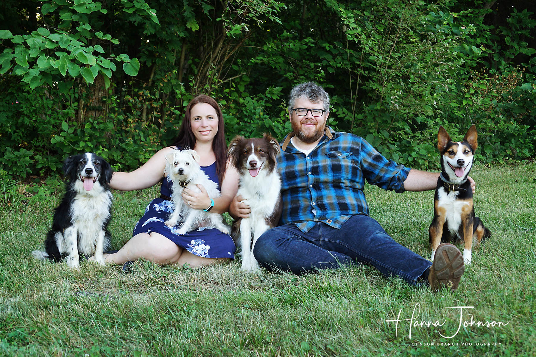 Engagement photo with dogs on farm in Cynthiana, Kentucky
